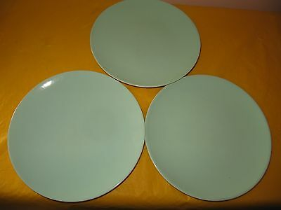 3 BRANKSOME Duck Egg Blue SIDE PLATES Dia 6.5 ,  Small Firing Flaws,used In VGC • 14.50£