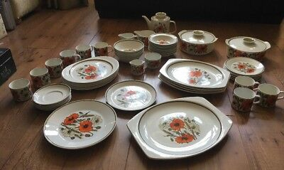 Joblot 56 Piece, Vintage  Retro J & G Meakin Studio Poppy Design Dinner, Tea Set • 60£