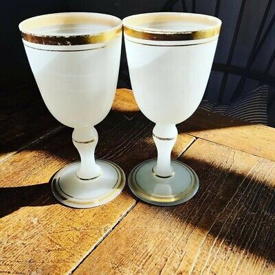 2 Large Vintage Antique White Opaque And Gilt Wine Goblets  • 80£