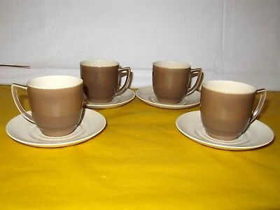 4 Branksome Brown&Cream Coffee Cups&saucers  ~FIRING FLAWS~ • 26.50£