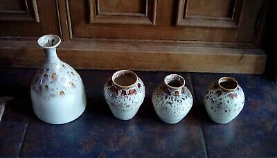Vintage Fosters Pottery Cream  Honeycomb Drip Glaze 3 Vases And Tall Jar • 20£