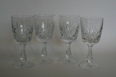 4 X Lead Cut Crystal Wine Glasses - Good Quality  • 14.95£