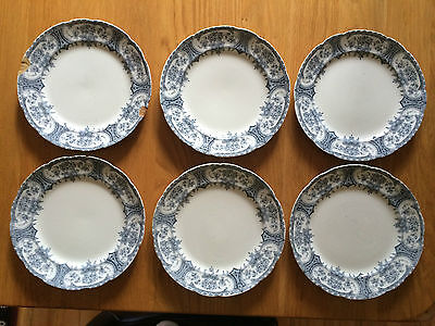 ANTIQUE/VICTORIAN F.WINKLE WHIELDON 'WARWICK' BLUE AND WHITE 9 INCH  PLATES X 6 • 25£