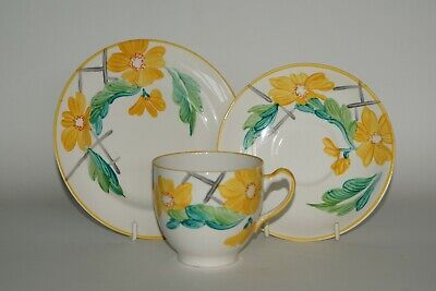 Grays Pottery - Hand Painted - Abstract Floral Tea Cup Trio - Patt. A2246 C.1935 • 11.95£