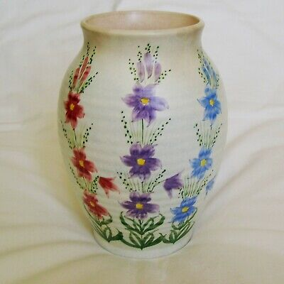 E. Radford Signed Art Deco Ribbed Hand Painted Floral Vase • 25£