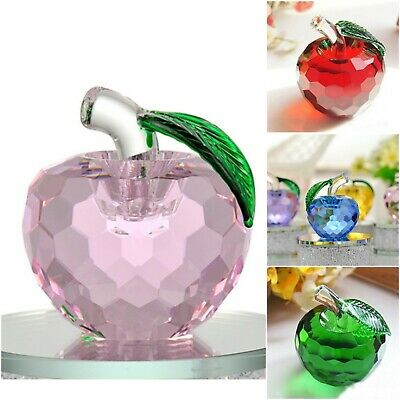3D Cut Crystal Glass Apple Ornament Paperweight Home Wedding Decor Bday Gift UK • 8.99£