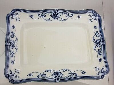 Antique F & Sons Burslem  Milan  Floral Porcelain Platter Flow Blue C. 1908 • 74.95£