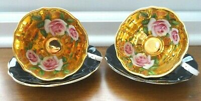 Pair Gilt Interior Cabbage Rose On Gold Black Queen Anne China Cups And Saucers • 150£