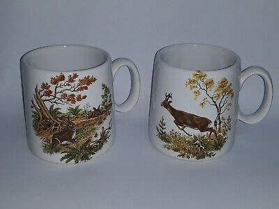 Pair Holkham Traditional Coffee Mugs Rabbits Deer Wildlife • 13.99£