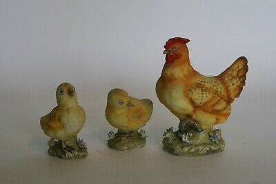 LEFTON ? Mother Hen & Two Chicks - Small Ceramic Figures - US Manufacture ? • 11.95£