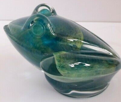 ##daum France Signed Large Green Frog  Paperweight • 110£