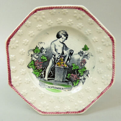 Victorian Antique Staffordshire Pottery Child's  Plate 'september' C.1850 • 30£