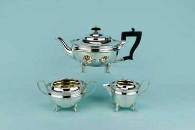 Tea Set Teapot Sugar Bowl Creamer Silver Plated Gilded Antique English Early 190 • 109.25£