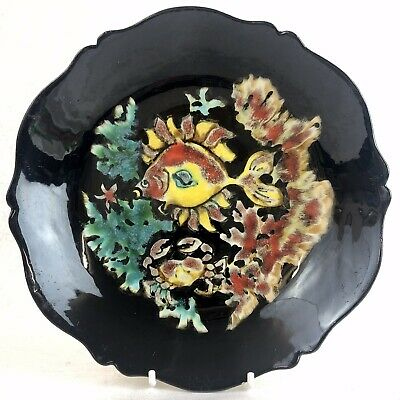 Quimper Youen Faience Plate Fish Sealife Hand Painted Mid Century Vintage • 35£