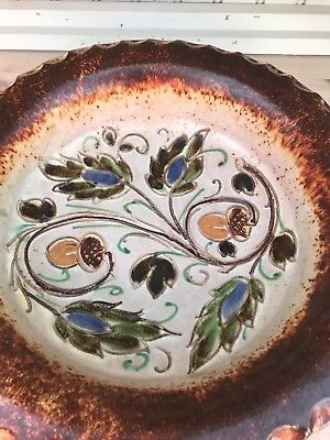 Large Vintage Pottery Fruit Bowl. Decorated With Flowers And Acorns. Italy. • 12£