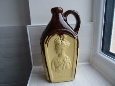 Antique Lead Glaze Spirit Flask - Victoria & Albert Wedding Circa 1840 • 75£