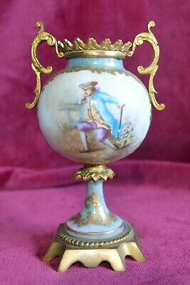 Antique Sevres Miniature Hand Painted Porcelain Gilt Ormolu Twin Handled Vase • 85£