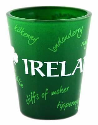 Green Irish Shot Glass With Graffiti Design Of Places In Ireland • 2.23£