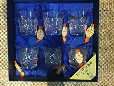 Royal Doulton - Crystal Glass Whisky Glasses.  A Set Of 6.  • 20£