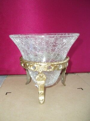 ***** 5  Crackle Glass Bowl With Brass  Stand ***** • 5.99£