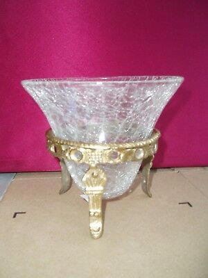 ***** 5  Glass Crackle  Bowl With Brass  Stand ***** • 5.99£