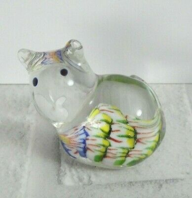 Small Glass Cat Kitten Novelty Animal Paperweight Colourful Vintage Retro  • 5.99£