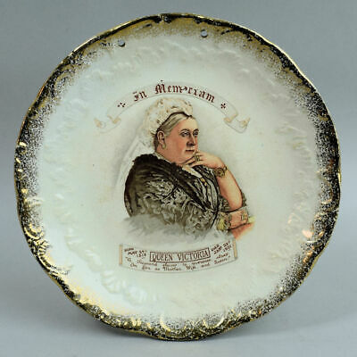 Antique Staffordshire Pottery Queen Victoria In Memoriam Plate C.1901 • 26£