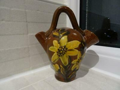 Unusual Torquay Ware Old Sarum Kettle Shaped Posy - Floral Decoration • 14.95£