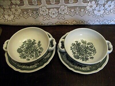 Villeroy & Boch FASAN ( Pheasant ) GREEN - Pair Of Soup Coupes / Bowls & Saucers • 10£