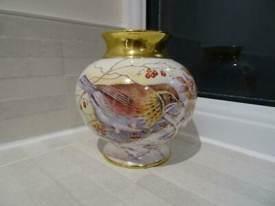 Ex-Royal Worcester Artist D.Wilson - Redwing Vase For Dunheved China • 55£