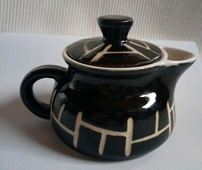 Cute Black And White Etched Patterned Earthenware Teapot Tableware • 4.99£