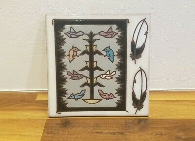 Vintage Masterworks Art Tile Trivet Coaster Native American - Bird Feather • 15£