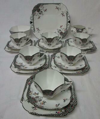 Art Deco Shelley Black Leafy Tree #11575 Queen Anne 21 Piece Tea Set C1925-45 • 575£
