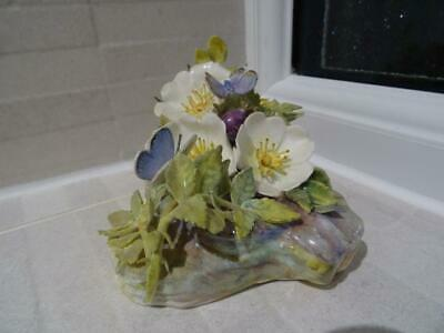 Dunheved China Butterfly & Floral Figurine - Ex Royal Worcester Artist • 34.95£