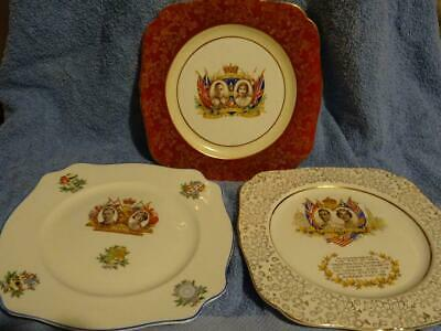 George VI Commemorative Sandwich Plates X 3.  Coronation & Royal Visit • 14.95£