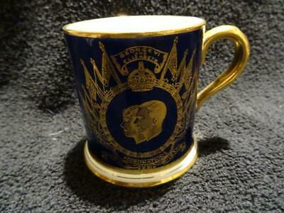George VI Coronation - A Stunning Cobalt Blue & Gilded Coffee Can • 24.95£