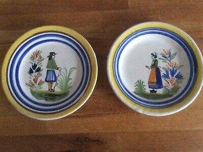 2 Antique Henriot Quimper Plates Hand Painted Faience Brittany France 99 &103  • 35£