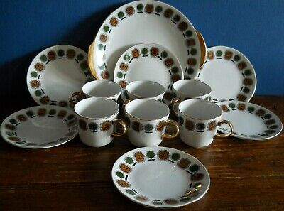 A Vintage Satin White Part Tea Set By Alfred Clough 60's Style Abstract Flowers • 17.99£
