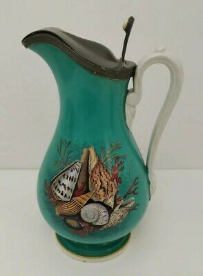 Vtg 1890s Prattware & Pewter Pottery Turquoise Sea Shells  Ale Water Jug Pitcher • 120£