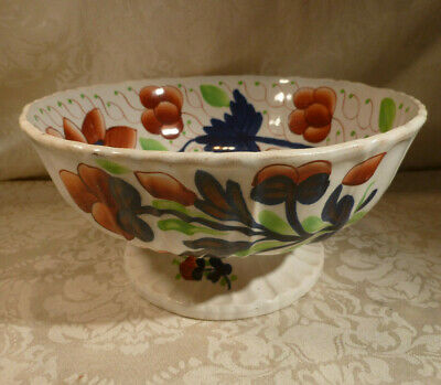 Antique Gaudy Welsh Footed Pedestal Bowl Grape Pattern 9  Diamtr Swansea Cottage • 69.99£
