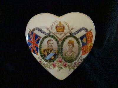 Stunning Aynsley China George V Coronation Heart Shaped Box 1911 - Excellent • 29.95£