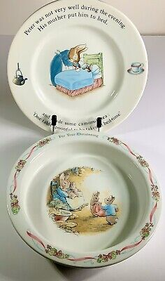 Wedgwood Peter Rabbit Baby Christening Bowl And Small Plate Beatrix Potter • 10£
