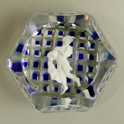 Fine Baccarat (signed) Sulphide Window Cut Glass Paperweight • 96£