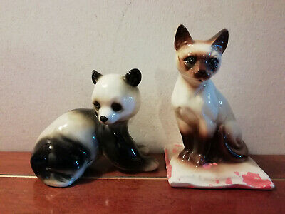 12377) 2 X Ceramic Animal Figures Marked Foreign - Cat And Panda • 5£