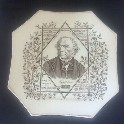 William Gladstone Liberal PM Commemorative Pottery Plate Wallis Gimson 1886 • 24.99£