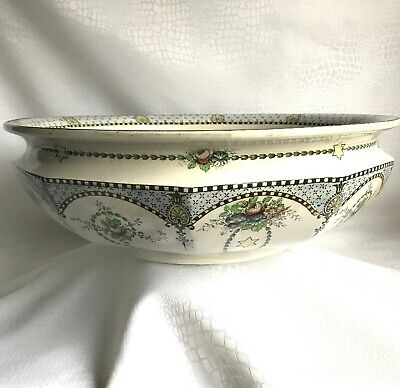 1900 English Staffordshire Royal Corona Ware S.Hancock &Sons 'Stella' Wash Basin • 55£