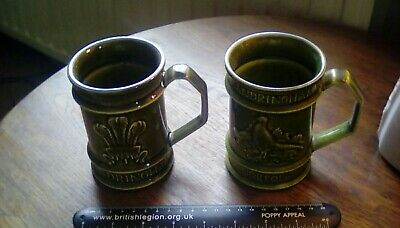 Vintage Pair Of Holkham Sandringham Green Mugs -royal & Church+pheasants  • 14£