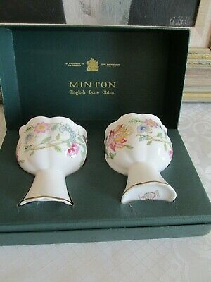 2 X Lovely MINTON Haddon Hall Gold Bone China Candle Holders - Boxed   • 20£