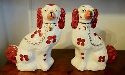 Pair Of Victorian Staffordshire Dogs Spaniels Pot Dogs Fireside Dogs • 27.50£
