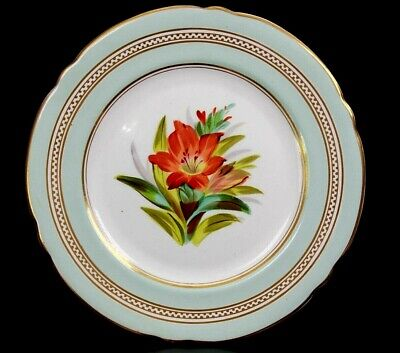 Antique English Fine Porcelain Display Flower Plate Circa 1860 • 95£